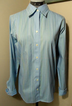 EDDIE BAUER DRess Shirt M Blue pinstripe Wrinkle Resistant Button up blouse LS - $16.82