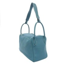 HERMES Lindy 34 Taurillon Clemence Blue Jean Handbag Shoulder Bag #Q Authentic image 2