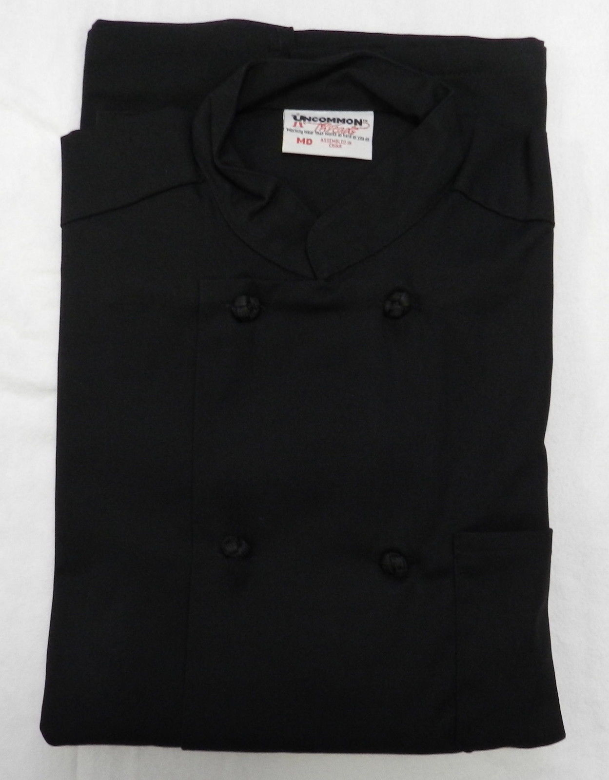 Chef Jacket Black 2XL Uncommon Threads 403 Cloth Knot Button Uniform Coat New