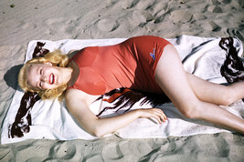June Haver Lying on Towel in Swimsuit on Beach 24x18 Poster - $23.99