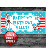 Dr Seuss Cat in the Hat Custom Birthday Banner Party Backdrop 48x24 - $22.28