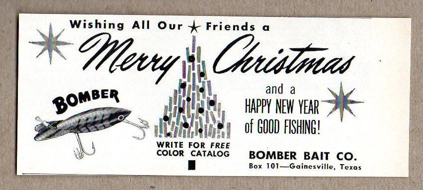 Primary image for 1964 Print Ad Bomber Bait Merry Christmas Fishing Lures Gainesville,TX