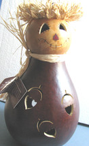 Natural Gourd Scarecrow  LAMP- Light Cord, Acorn Handcrafted Meadowbrook... - $49.49
