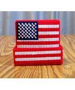 USA Flag Drink Coasters, Plastic Canvas, Handmade, Beer Coasters, Patrio... - $22.00