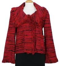 ST. JOHN Real Red Black Tweed Fringe Wool Blend Knit Jacket 8 NEW - $529.99