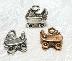 BABY STROLLER FINE PEWTER PENDANT CHARM - 12x14x4mm