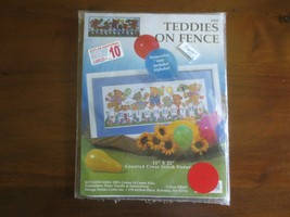 "Design Works TEDDIES ON FENCE Counted Cross Stitch Kit #2302 - 11"" x 22""   - $4.95"