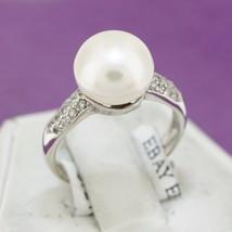 18k White Gold Round Pearl Solitaire Round Brilliant Diamond Accent Ring... - $508.49