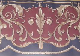 Traditional Gold Scroll Swirl Burgundy Wine Navy Blue Wallpaper Border EH99887 - $14.84