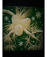 Vintage Christmas Card Pinecones Snowflakes - €2,66 EUR