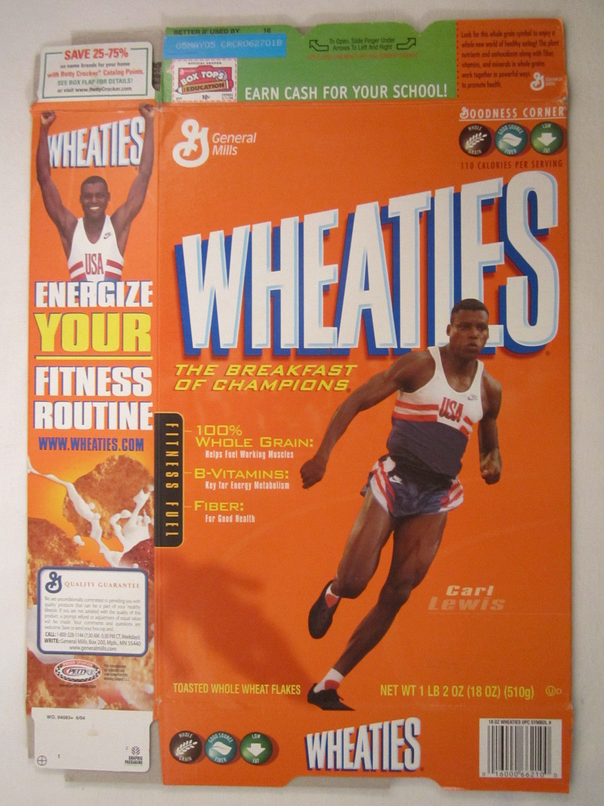 Primary image for MT WHEATIES Box 2004 18oz CARL LEWIS [G7E13p]