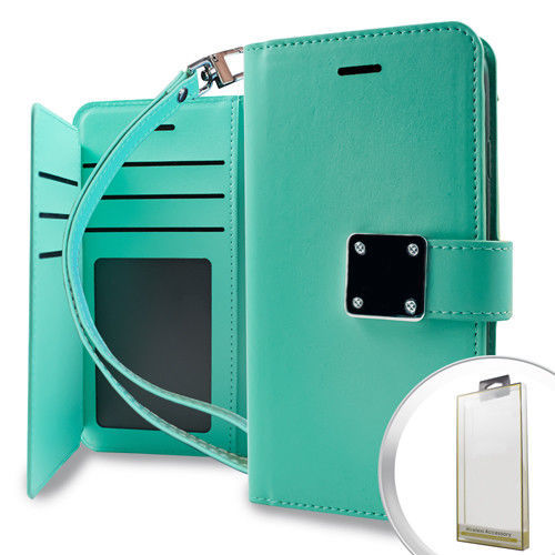 For Motorola Moto E4 2017 Phone Case  Deluxe Teal Wallet w/ Blister Pouch Cover