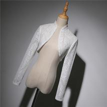 Long Sleeve Wedding Lace Cover Ups Retro Style Lace Bridal Boleros, white, plus image 2