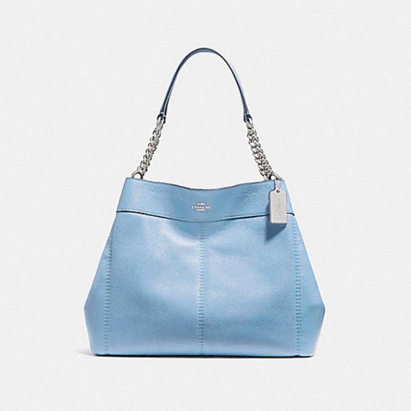 b4d3749fa2e1 ... Coach F27594 Lexy Chain Shoulder Bag Pebbled Leather tote purse Pool  Blue  450