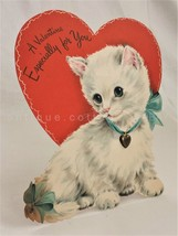 "Vintage Hallmark Hall Brothers Valentine Card 8.5"" Standing Cat Metal Charm - $42.50"