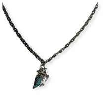 """Vintage Stock Owl Pendant Stainless Steel Turquoise chip with 18"""" Necklace  - $15.84"""