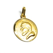 18K YELLOW GOLD MEDAL PENDANT, SAINT PIO OF PIETRELCINA SMALL 13mm VERY DETAILED image 2