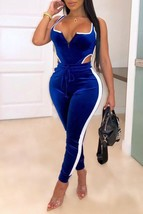 Leisure Patchwork Blue Two-piece Pants Set - $32.22