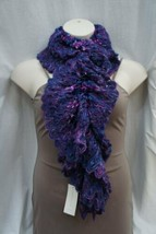 Charter Club Boa Scarf Blue Ribbon Acrylic Chenille Knit Winter Scarf 9x88 - $24.18