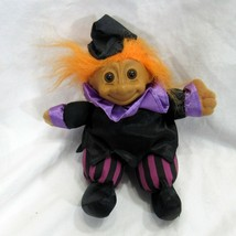 "Orange Hair Russ Troll 5"" Doll Brown Eyes Sitting Witch Striped Pants - $14.07"