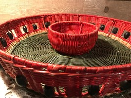 Vintage Basket Chips and Salsa Dish Green and Red - ₹1,783.59 INR