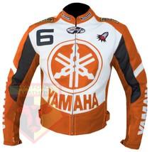 YAMAHA 6 ORANGE MOTORCYCLE MOTORBIKE BIKERS ARMOURED COWHIDE LEATHER JACKET - $194.99