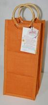 Drink Wear Orange Natural Fiber Wine Tote Round Bamboo Handles Coaster P... - $18.95