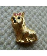 Vintage Signed JOAN RIVERS Goldtone Rhinestones YORKSHIRE TERRIER DOG Pin Brooch - €20,71 EUR