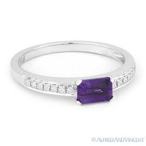 0.59ct Baguette Cut Amethyst Gem & Round Cut Diamond 14k White Gold Promise Ring - €270,92 EUR