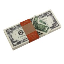PROP MOVIE MONEY - Series 1980s $20 Full Print Prop Money Stack - $14.00