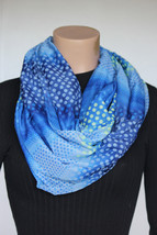 NEW Calvin Klein Blue Green Dots Women's Infinity Neck Scarf 27x35 - $14.84