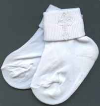 Baby Boys White Embroidered Cross Detail Christening 5-6 size Socks - $17.95