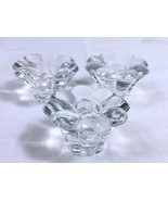 Lot of Three Vintage Heavy Molded Glass Flower Shaped Taper Candle Holde... - $4.89