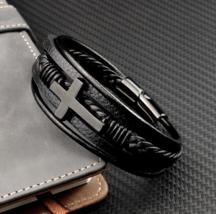 Chakra Black Letter Cross Stainless Steel   Leather Charm Men Bracelet - $16.99