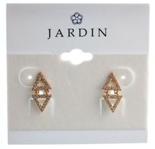 Jardin Yellow Gold Plated Pave Cubic Zirconia Mini Double Triangles Earrings NWT image 4