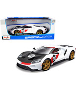 """2021 Ford GT #98 White \""""Heritage Edition\"""" 1/18 Diecast Model Car by Maisto - $57.17"""