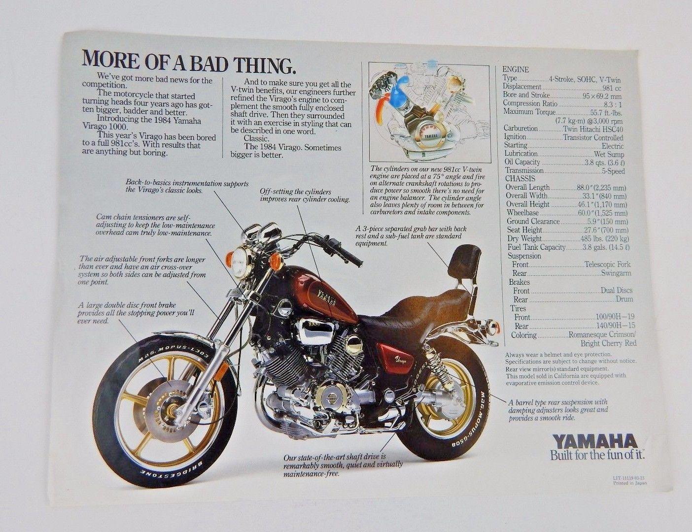 ... 1984 Yamaha Virago 700 & 1000 Single Sheet Sales Brochures ...