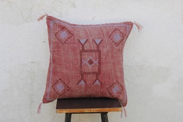 Pink Color Cactus Silk Inspired Handmade Linen Cushion  Cover Moroccan S... - £22.90 GBP