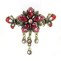 Retro Luxury Aulic Style Crystal Bronze Alloy Hair Claws, Flowers(Red)