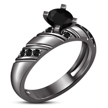 Women's Solitaire Black Diamond Engagement Ring 14K Black Gold Finish 92... - $76.99