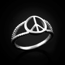 Dainty White Gold Peace Sign Ring - £78.91 GBP
