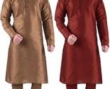 Ethnic's Designer Silk Blend Kurta Churidar Set Of 2 (SILK-COPPER-MAROON-x)