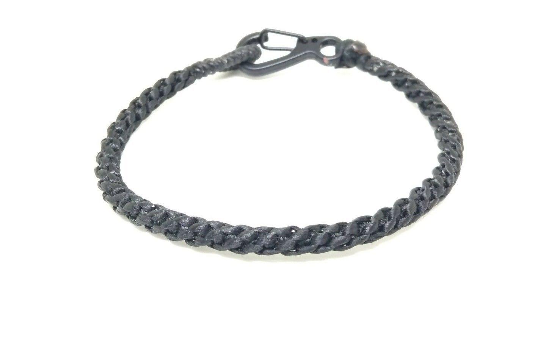 Fair Trade Black Wax Cotton Weave Thai Buddhist Wristband Handcrafted Wristwear