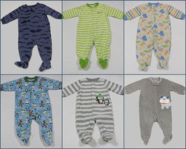 Baby Boys 6M Lot Of 6 Footed Sleepers Pj's Pajamas Fleece Terry Carters Absorba - $25.24