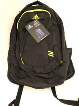 Adidas Aires Trefoil Backpack Black and Solar Yellow Embroidered Logos N... - $49.50
