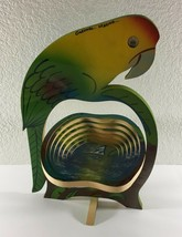 Parrot Collapsible Fruit Basket Bowl Trivet Tropical Painted Wood Mexico - €16,77 EUR