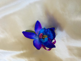 Galaxy Blue and Purple dendrobium orchid Boutonniere  - $4.50