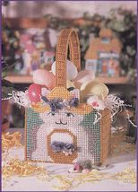 Plastic Canvas Easter Pussycat Cat Basket Bunny Candy Dish Doorstop PATTERN - $6.99