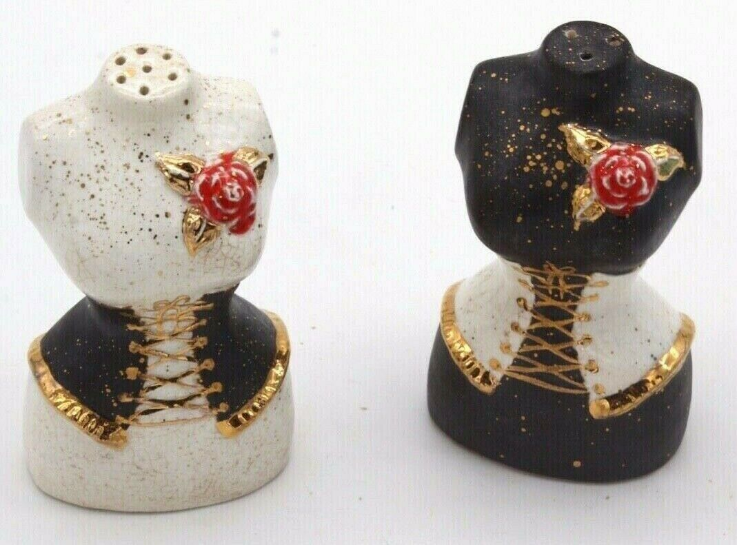 Primary image for Vtg 1953 Unique SEXY Corset Salt & Pepper Shakers Artist Signed RARE Risque