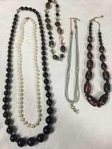 Vintage Lucite Pearl Silver Necklace Bundle - $29.69